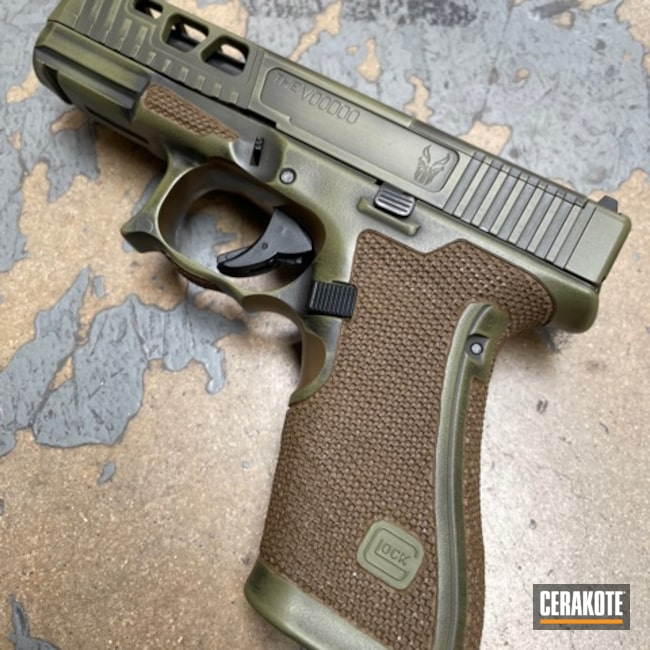 Cerakoted: S.H.O.T,Distressed,Stippled,Pistol,Hand Stippled,Noveske Bazooka Green H-189,Defkon3,Glock 19,Battleworn,Graphite Black H-146,Worn,Glock,Handguns
