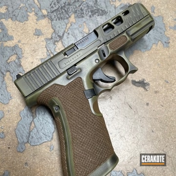 Distressed Glock 19 Cerakoted Using Noveske Bazooka Green And Graphite Black