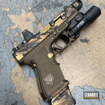 Custom Camo Glock Cerakoted Using Midnight Bronze, Graphite Black And Burnt Bronze