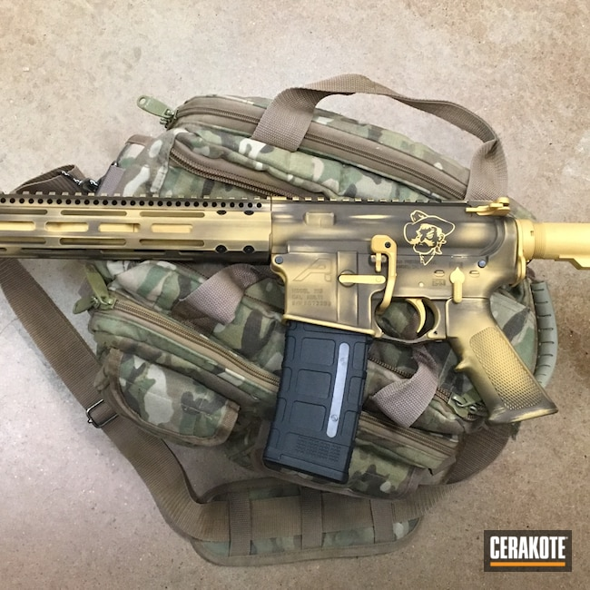 Cerakoted: S.H.O.T,wyoming,Burnt Bronze H-148,Midnight Bronze H-294,AR Build,Gold H-122