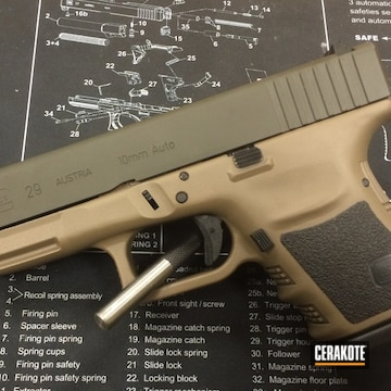 Glock 29 Cerakoted Using Coyote Tan, O.d. Green And Graphite Black