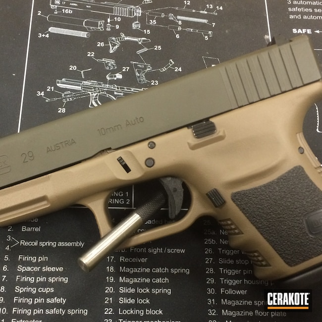 Cerakoted: S.H.O.T,10mm,Coyote Tan H-235,Graphite Black H-146,Glock,O.D. Green H-236