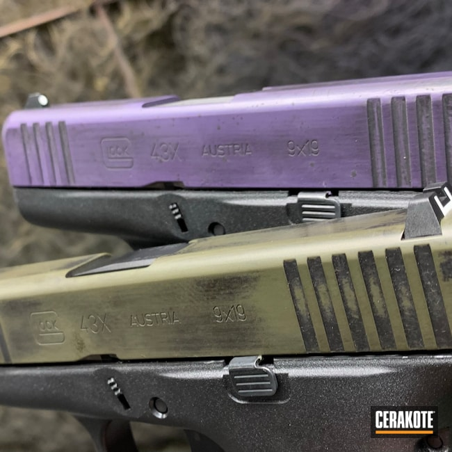 Cerakoted: S.H.O.T,Battleworn,Graphite Black H-146,Bright Purple H-217,O.D. Green H-236,His and Hers,Glock 43