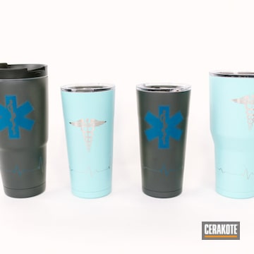 Custom Tumblers Cerakoted Using Ridgeway Blue, Socom Blue And Robin's Egg Blue