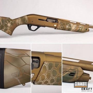 Kryptek Winchester Sx4 Cerakoted Using Armor Black, O.d. Green And Burnt Bronze