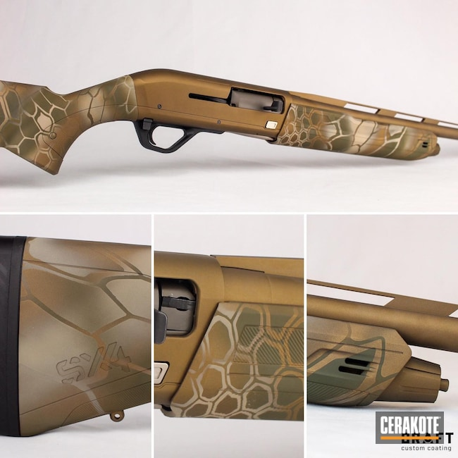 Cerakoted: S.H.O.T,Winchester,Winchester SX4,Kryptek,Shotgun,Burnt Bronze H-148,Armor Black H-190,12 Gauge,O.D. Green H-236