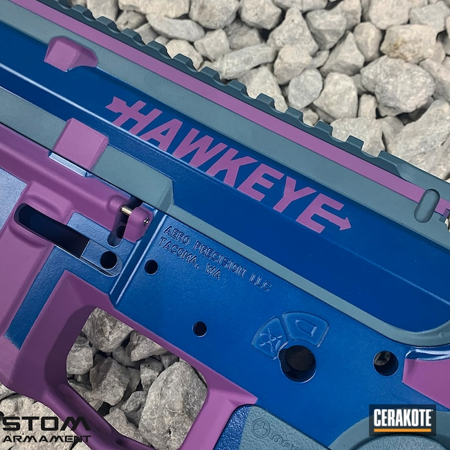 Cerakoted: S.H.O.T,Aero Precision,m4,Hawkeye,Wild Purple H-197,Jesse James Civil Defense Blue H-401,Sky Blue H-169,Avengers