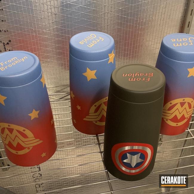 Cerakoted: USMC Red H-167,Superhero,MAGPUL® O.D. GREEN H-232,Custom Tumbler Cup,Gold H-122