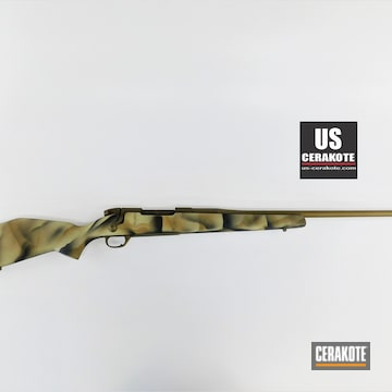 Weatherby Mkv Cerakoted Using Troy® Coyote Tan, Armor Black And Light Sand