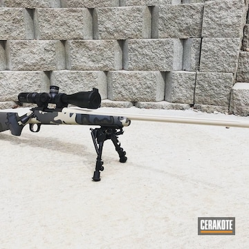 Custom Multicam Long Range Rifle Cerakoted Using Desert Sand, Mcmillan® Tan And Graphite Black