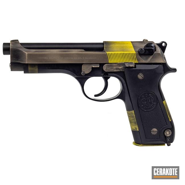 Cerakoted: S.H.O.T,9mm,92S,Corvette Yellow H-144,Battleworn,BLACKOUT E-100,Graphite Black H-146,Desert Sand H-199,Pistol,Beretta