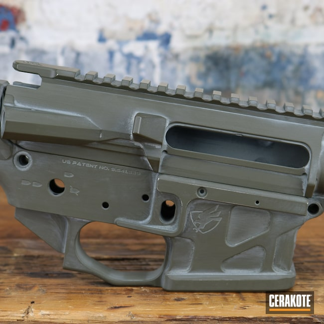 Cerakoted: S.H.O.T,Upper Receiver,Lower Receiver,FROST H-312,Bull Shark Grey H-214,Firearms,MAGPUL® O.D. GREEN H-232