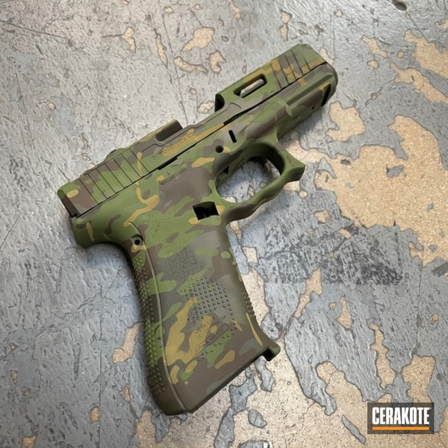 Multicam Glock 19x Cerakoted Using Plum Brown, Multicam® Bright Green And Mil Spec Green