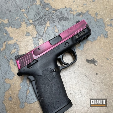 Smith & Wesson M&p Shield Cerakoted Using Prison Pink And Graphite Black