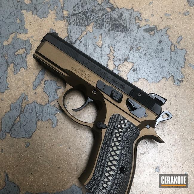 Cerakoted: S.H.O.T,9mm,CZ 75 P01 Omega,Graphite Black H-146,Burnt Bronze H-148,CZ 75,Pistol,CZ,Handguns
