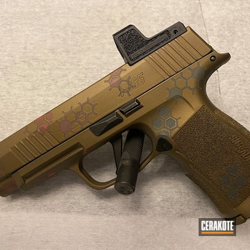 Sig Sauer P365xl Cerakoted Using Platinum Grey, Blood Orange And Burnt Bronze