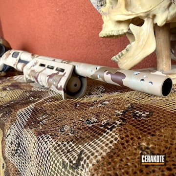 Multicam Remington 870 Cerakoted Using Hidden White, Desert Sage And Patriot Brown