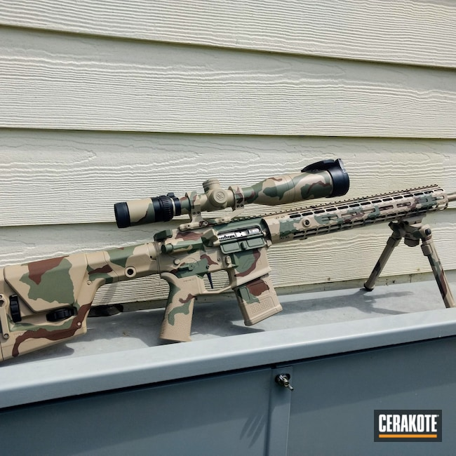 Cerakoted: S.H.O.T,DCU Camo,Tactical Rifle,Firearms,Completely Coated,Aero Precision,Desert Camo,Scope,Desert Sand H-199,Patriot Brown H-226,Forest Green H-248,.223 Wylde,Full Cerkote Job