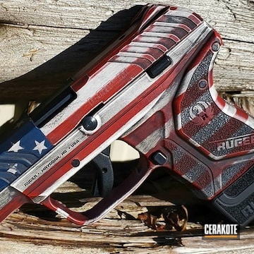 United States Flag Themed Ruger Lcp Cerakoted Using Kel-tec® Navy Blue, Bright White And Usmc Red