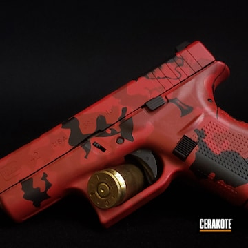 Glock 42 Cerakoted Using Crimson, Graphite Black And Ruby Red