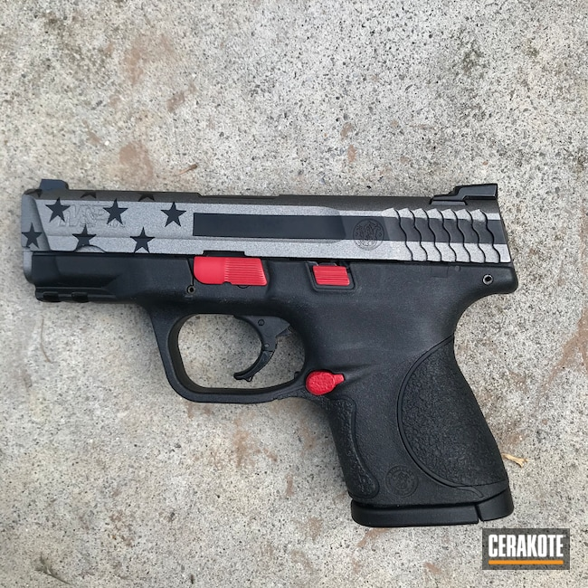 Cerakoted: S.H.O.T,Graphite Black H-146,RUBY RED H-306,Smith & Wesson,Firefighter,Tungsten H-237,Shield,Pistol,American Flag,Fireman,Slide,M&P Shield