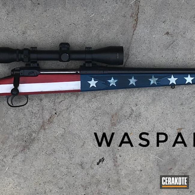 Cerakoted: S.H.O.T,Bolt Action Rifle,Restoration,American Flag,Remington,2nd Amendment,70,Bright White H-140,Patriotic,Custom Rifle,FIREHOUSE RED H-216,7mm,Gen II Graphite Black HIR-146,Distressed American Flag,Sky Blue H-169