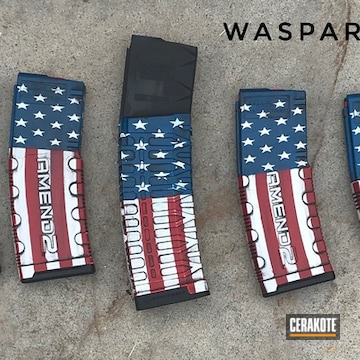 American Flag Themed Mags Cerakoted Using Bright White, Sky Blue And Graphite Black