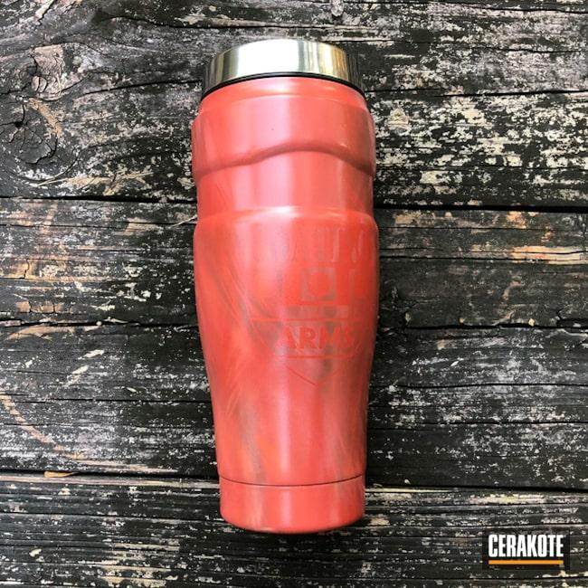 Custom Travel Mug Cerakoted Using Frost, Multicam® Dark Brown And Terra Cotta