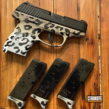 Cheetah Print Ruger Pistol Cerakoted Using Hidden White, Coyote Tan And Graphite Black
