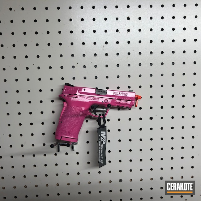 Cerakoted: S.H.O.T,HIGH GLOSS CERAMIC CLEAR MC-160,Smith & Wesson,.380,Pistol,Prison Pink H-141,M&P Shield