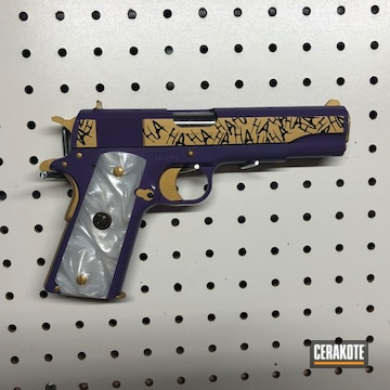 Colt 1911 Cerakoted Using Wild Purple, High Gloss Ceramic Clear And Graphite Black