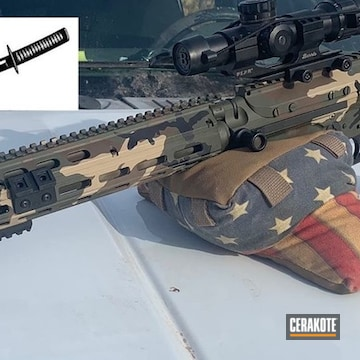 Woodland Camo Ar Cerakoted Using Armor Black, Coyote Tan And Chocolate Brown
