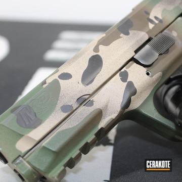 Multicam Smith & Wesson M&p Cerakoted Using Plum Brown, Highland Green And Mcmillan® Tan