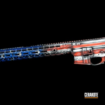 American Flag Themed Ar Builders Set Cerakoted Using Stormtrooper White, Usmc Red And Nra Blue