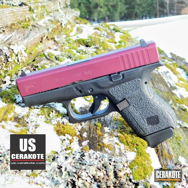 Cerakoted: S.H.O.T,Gun Slide,Glock 42,BLACK CHERRY H-319,Glock Slide,.380,Gun Parts,Glock,Slide,G42