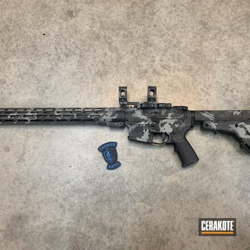 Dark Camo American Defense Manufacturing Ar Cerakoted Using Sig™ Dark Grey, Sniper Grey And Battleship Grey