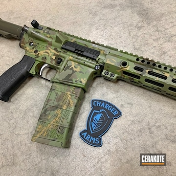 Multicam Ar Cerakoted Using Plum Brown, Multicam® Light Green And O.d. Green