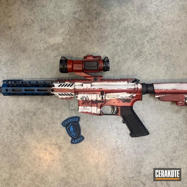 Cerakoted: S.H.O.T,Palmetto State Armory,AR Pistol,Snow White H-136,Graphite Black H-146,USMC Red H-167,American Flag,Trump,Sky Blue H-169