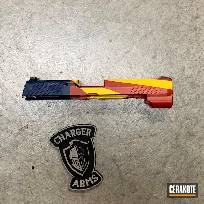 Cerakoted: S.H.O.T,9mm,Flag,Graphite Black H-146,RUBY RED H-306,P320,KEL-TEC® NAVY BLUE H-127,Sig Sauer,SUNFLOWER H-317
