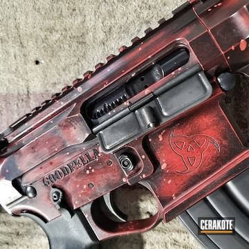 Ar Build Cerakoted Using Habanero Red, Graphite Black And Ruby Red