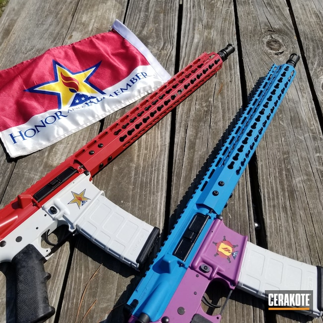Cerakoted: S.H.O.T,Honor and Remember,Sea Blue H-172,Honor and Sacrifice,Wild Purple H-197,FROST H-312,KEL-TEC® NAVY BLUE H-127,HABANERO RED H-318,Gold H-122,AR-15