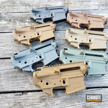 Group Of Upper And Lowers Cerakoted Using Troy® Coyote Tan, A.i. Dark Earth And Jungle