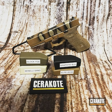 Reptile Camo Glock 19 Cerakoted Using Patriot Brown, 20150 And Coyote Tan