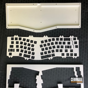 Mechanical Keyboard Cerakoted Using Bright White