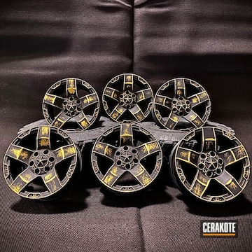 Rc Car Wheels Cerakoted Using Armor Black And Corvette Yellow
