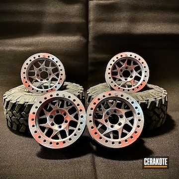 Rc Car Wheels Cerakoted Using Armor Black, Blue Raspberry And Stormtrooper White