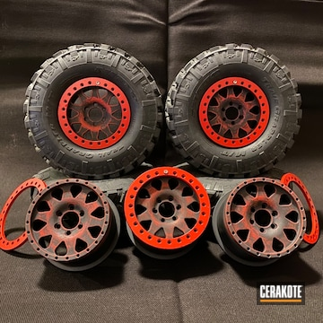 Rc Truck Wheels Cerakoted Using Armor Black And Usmc Red