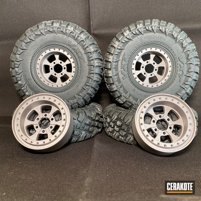 Cerakoted: RC Car Parts Cerakote Coated,USMC Red H-167,CNC Milling,KEL-TEC® NAVY BLUE H-127,Satin Aluminum H-151,Wheels,RC Car