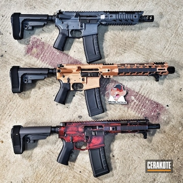 Custom Ar Builds Cerakoted Using Platinum Grey, Graphite Black And Ruby Red