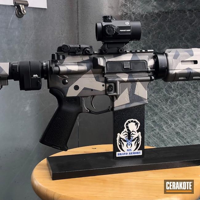 Cerakoted: S.H.O.T,Stone Grey H-262,AR Pistol,Tungsten H-237,sixbravoarmory,Titanium H-170,Fractured Camo,6B-15,5.56